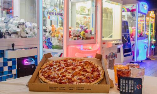 Pizza, sodas, and arcade games
