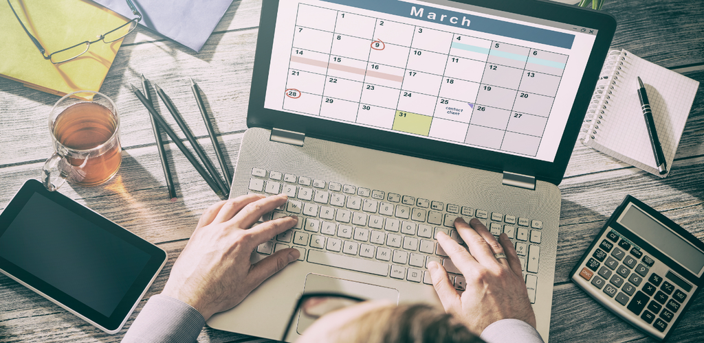 Laptop with a calendar open